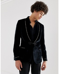 ASOS DESIGN Skinny Blazer In Black Velvet With Frogging