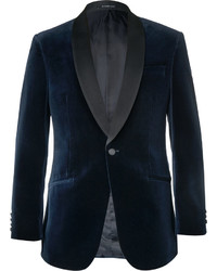 Richard James Slim Fit Satin Trimmed Cotton Velvet Tuxedo Jacket