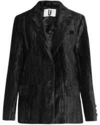 Topshop Unique Mayall Crushed Velvet Blazer Black