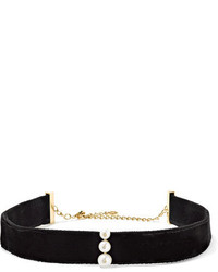 Anissa Kermiche 14 Karat Gold Pearl Diamond And Velvet Choker Black