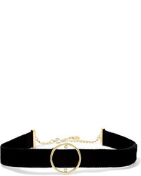 Anissa Kermiche Velvet 14 Karat Gold And Pearl Choker Black