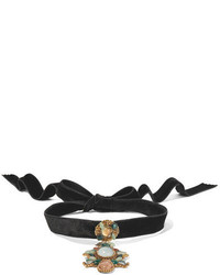 Erickson Beamon Hunky Dory Velvet Gold Plated And Crystal Choker Black