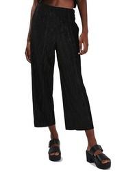 Topshop Velvet Plisse Crop Trousers