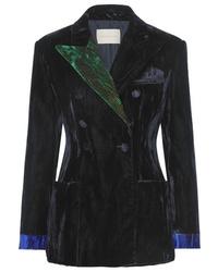 Christopher Kane Color Block Crushed Velvet Blazer