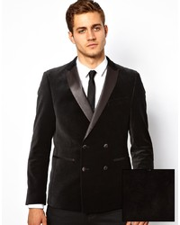Asos Slim Fit Db Blazer In Velvet