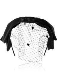 Eugenia Kim Carmel Glossed Leather And Tulle Bow Headband