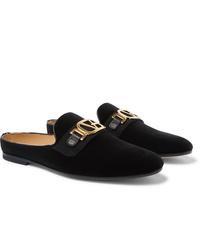 Versace Leather Trimmed Horsebit Velvet Backless Loafers
