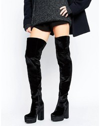 Keats velvet platform over the knee boots medium 3642261