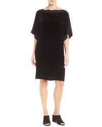 Eileen Fisher Silk Trim Velvet Bateau Neck Shift Dress
