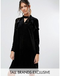 True Decadence Tall Frill Long Sleeve Velvet Shift Dress