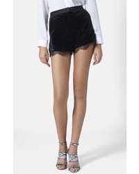 Topshop Lace Trim Velvet Shorts