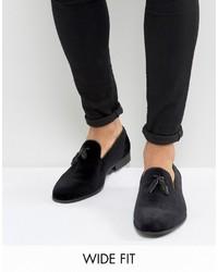 Asos Wide Fit Loafers In Black Velvet