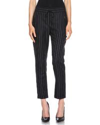 Stella McCartney Taylor Pinstripe Drawstring Wool Blend Trousers In Black Cream