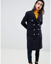 Mango Pin Stripe Button Front Tailored Coat In Black