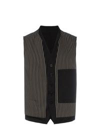Ann Demeulemeester Stripe Pattern And Button Detail Cotton Blend Waistcoat