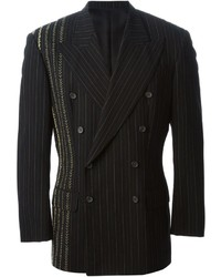 Black Vertical Striped Double Breasted Blazer