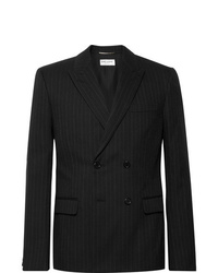 Saint Laurent Black Slim Fit Double Breasted Pinstriped Wool Blend Blazer