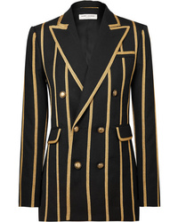 Saint Laurent Metallic Canvas Striped Wool Blazer