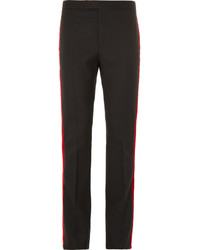 Black velvet trimmed wool trousers medium 876804