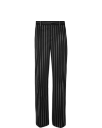 Burberry Black Wide Leg Pinstriped Virgin Wool Blend Suit Trousers