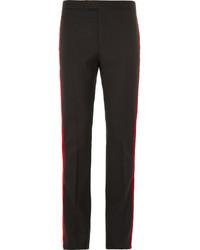Saint Laurent Black Velvet Trimmed Wool Trousers