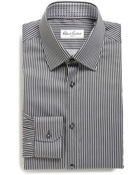 Black Vertical Striped Dress Shirt
