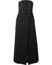 Black Vertical Striped Midi Skirt