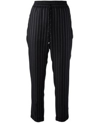 Black Vertical Striped Pajama Pants