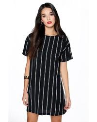 Black Vertical Striped Shift Dress