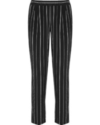Hadley striped washed silk tapered pants black medium 534016