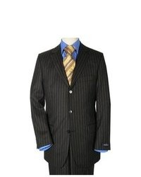 Black Vertical Striped Suit