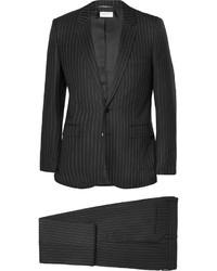 Saint Laurent Black Slim Fit Pinstriped Wool Suit