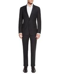 Giorgio Armani Tonal Textured Stripe Two Piece Suit Black