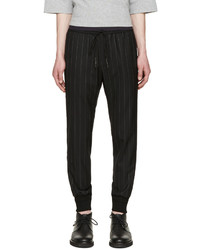 Black Vertical Striped Sweatpants