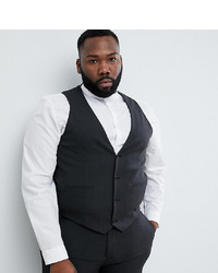 ASOS DESIGN Plus Skinny Suit Waistcoat In Charcoal