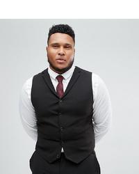 ASOS DESIGN Plus Super Skinny Fit Suit Waistcoat In Black