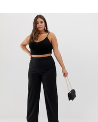 PrettyLittleThing Plus Wide Leg Trouser In Black