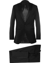 Black satin trimmed wool and mohair blend tuxedo medium 605545