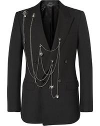 Alexander McQueen Black Slim Fit Embellished Wool Blazer