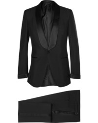 Black slim fit mohair and wool blend tuxedo medium 707316