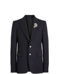 Burberry Slim Fit Bullion Floral Wool Gabardine Blazer