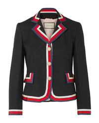 Gucci Striped Silk And Wool Blend Crepe Blazer