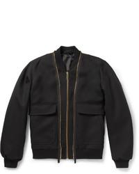 Alexander McQueen Double Zip Wool Twill Bomber Jacket