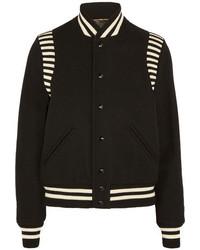 Saint Laurent Striped Jersey Trimmed Wool Blend Piqu Bomber Jacket Black