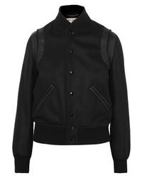 Saint Laurent Teddy Med Wool Blend Bomber Jacket