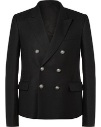 Black Wool Double Breasted Blazer