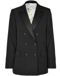 Racil Casablanca Double Breasted Satin Trimmed Wool Blazer