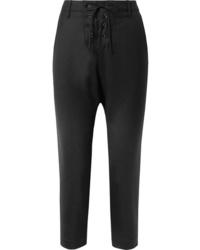 Nili Lotan Paris Cropped Lace Up Wool Twill Pants