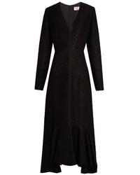 Lanvin V Neck Wool Blend Moir Dress