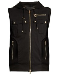 Balmain Panelled Wool Blend Twill Hooded Gilet
